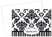 Black & White Damask Thank You