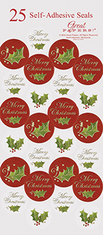 Christmas Holly Foil Seals