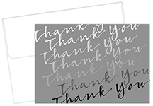 Silver Cursive Thank You Note card 50