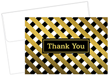 Lattice Gold Thank You Note card 50