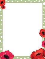 Dotted Green Poppies Letterhead
